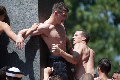 Gaily Stud: OMG! Half-naked Greased Up Naval Academy Men Climb On Top Of Each Other In the Most Homo-Erotic Moment of The Year, The Herndon Climb!