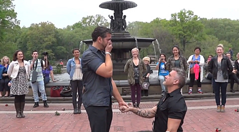 (Watch) Carl and Drew's Flash Mob Gay Marriage Proposal In NYC's Central Park