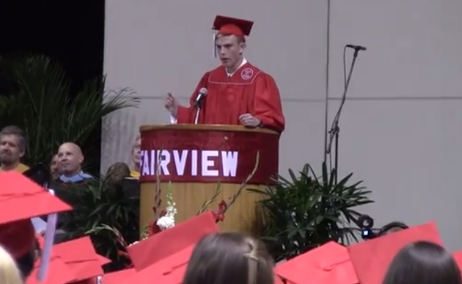 (Watch) Gay High School Student Delivers A Powerful Message Of LGBT Acceptance At His High School Graduation Ceremony