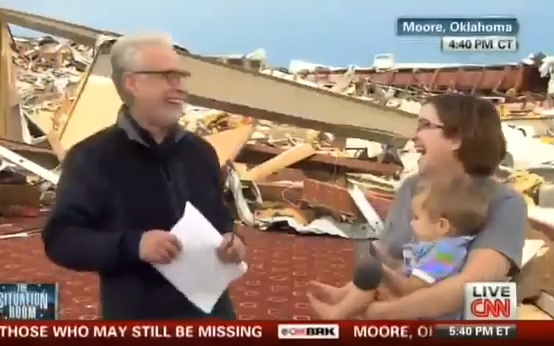 (Watch) Among The Rubble Of Monday's Tornado, Wolf Blitzer Asks Tornado-Surviving Atheist if She Thanked the Lord