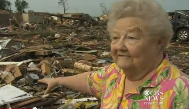 (Watch) Viral: Elderly Woman Whose Home Was Destroyed By the Oklahoma Tornado Found Her Missing Dog Among The Rubble During A Live TV Interview.