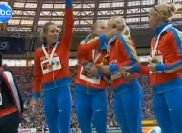 Female Russian Athletes Kiss After Winning Gold In Possible Defiance Of Russia's Anti-Gay Law (Video)