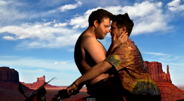 "James Franco and Seth Rogen Made A Gay Spoof of Kanye West's ""Bound 2″ Music Video"