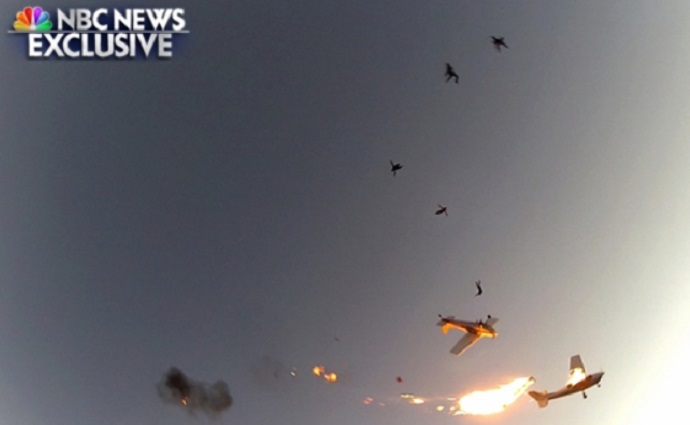 Watch: Skydivers' GoPro Captures Fiery Mid-Air Collision Between Two Skydiving Planes (Video)