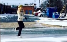 Watch: Ice Skating The Streets Of Birmingham, Alabama After Snow & Ice Storm