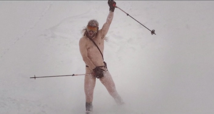 Watch: Daredevils Show Off While Skiing And Snow Boarding Naked!