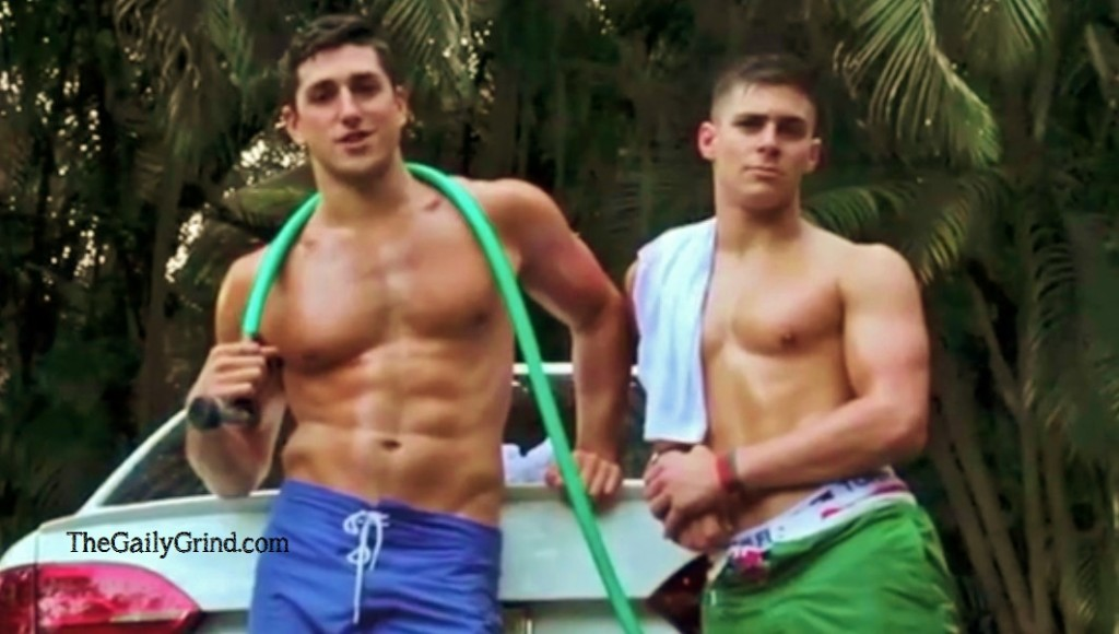 Shirtless Fraternity Hunks Get Each Other Wet In The Hottest Charity Car Wash Ad Ever Made!
