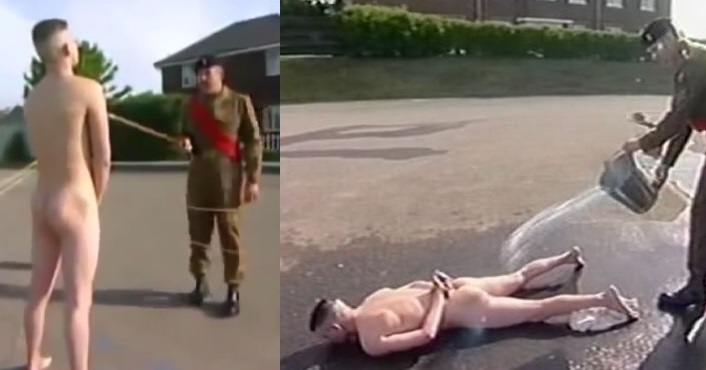 Disobedient Soldier Is Stripped Naked And Splashed With Cold Water! [NSFW]
