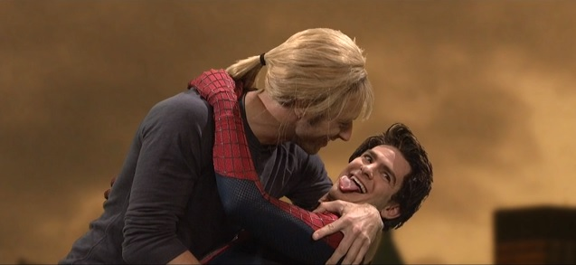 Spiderman Makes Out WIth Coldplay's Chris Martin On Saturday Night Live