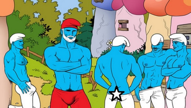 Tom of Finland Tumblr Redesign Challenge Inspires Gay Smurf Penis Village Artwork