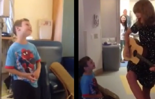 Taylor Swift Surprises Tiny Cancer Patient With Bedside Performance