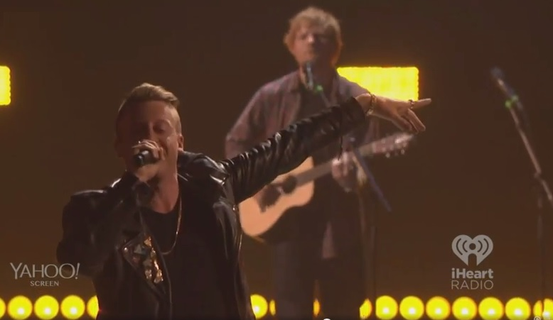 "Ed Sheeran Joins Macklemore For ""Same Love"" Performance At iHeartRadio Concert"