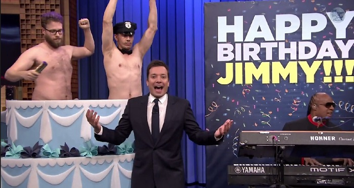 Seth Rogen & James Franco Give Jimmy Fallon A Shirtless 40th Birthday Surprise