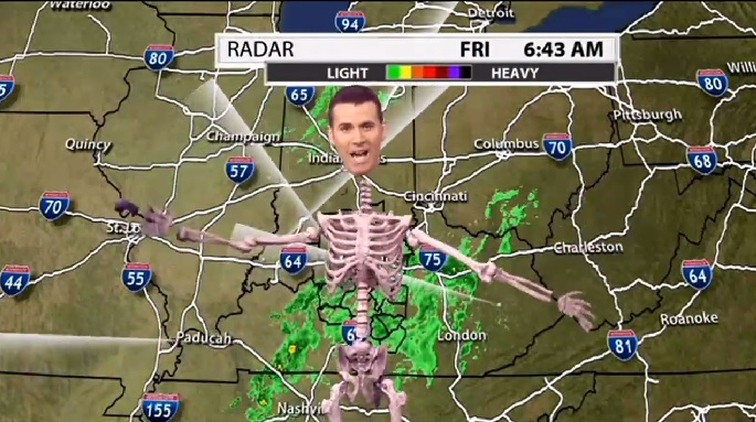 Weatherman Steals The Show With Amazing Skeleton Halloween Costume