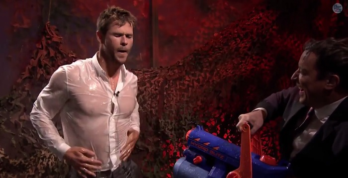 Chris Hemsworth Shows Off Buff Bod Through Soaked Shirt On Tonight Show