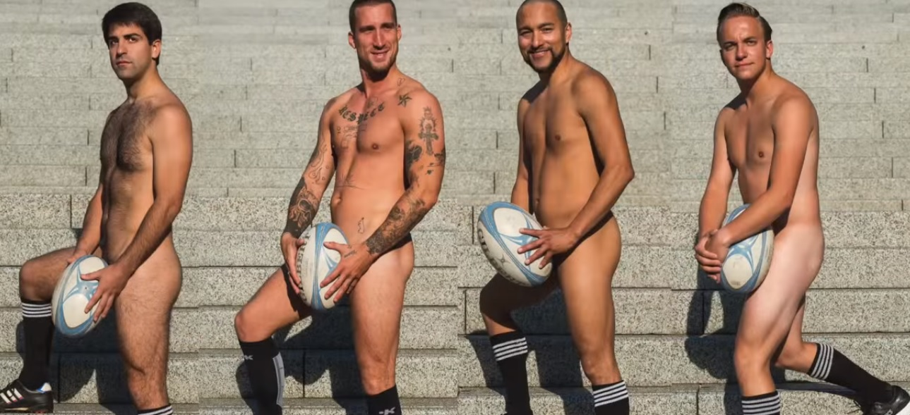 Naked male football players ass