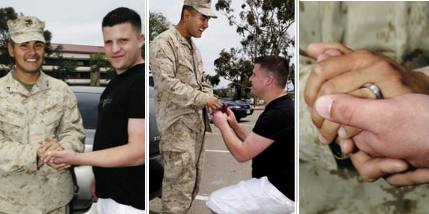 Gay marine bids farewell with show of support