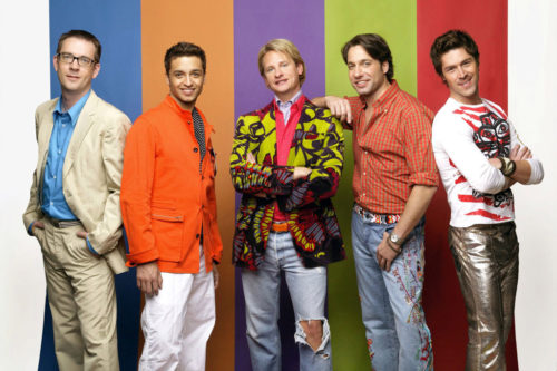 "Ted Allen, Jai Rodriguez, Carson Kressley, Thom Filicia, and Kyan Douglas in ""Queer Eye."""