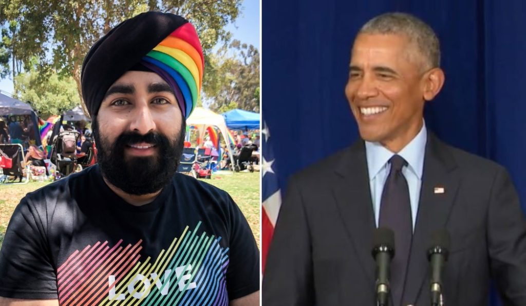 Photo of Sikh mans fantastic rainbow turban for gay pride